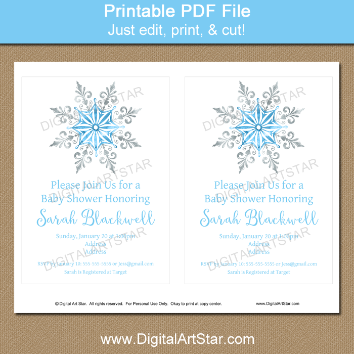 DIY Snowflake Party Invitation Template
