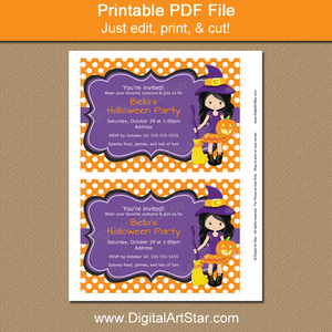 Editable Halloween Witch Party Invitations