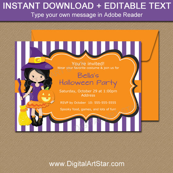 Witch Invitation Template Instant Download