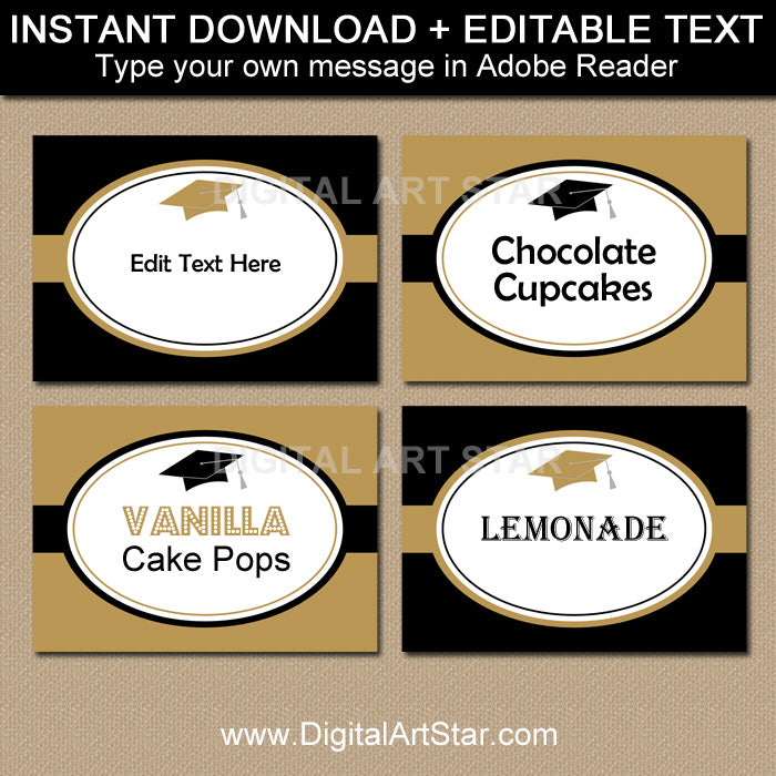 printable graduation food labels in black and gold with editable text by digital art star