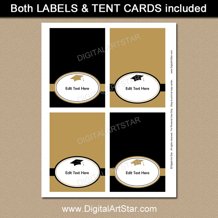 college graduation food tents in black and gold by digital art star