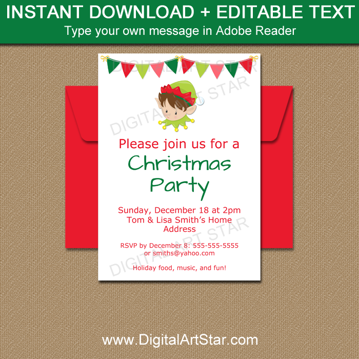 Elf Invitation Printable for Christmas Party