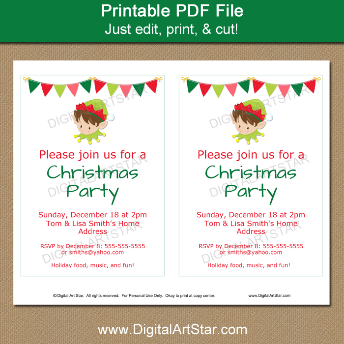 Printable Holiday Invitation Template with Elf