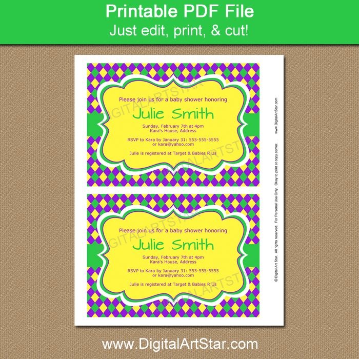 Yellow Mardi Gras Invitation Printable