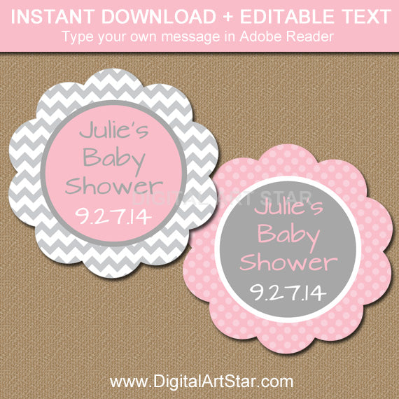 Baby Shower Labels Tags Pink And Gray Chevron Digital Art Star
