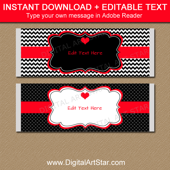 Black and Red Valentine Candy Bar Wrappers