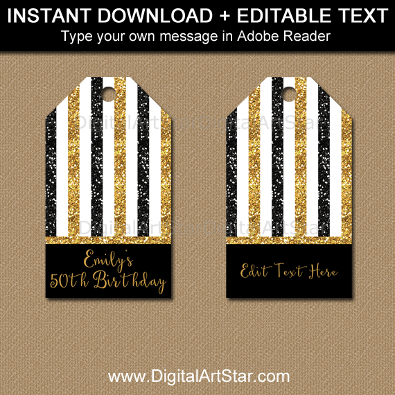 Editable 50th Birthday Tags by Digital Art Star