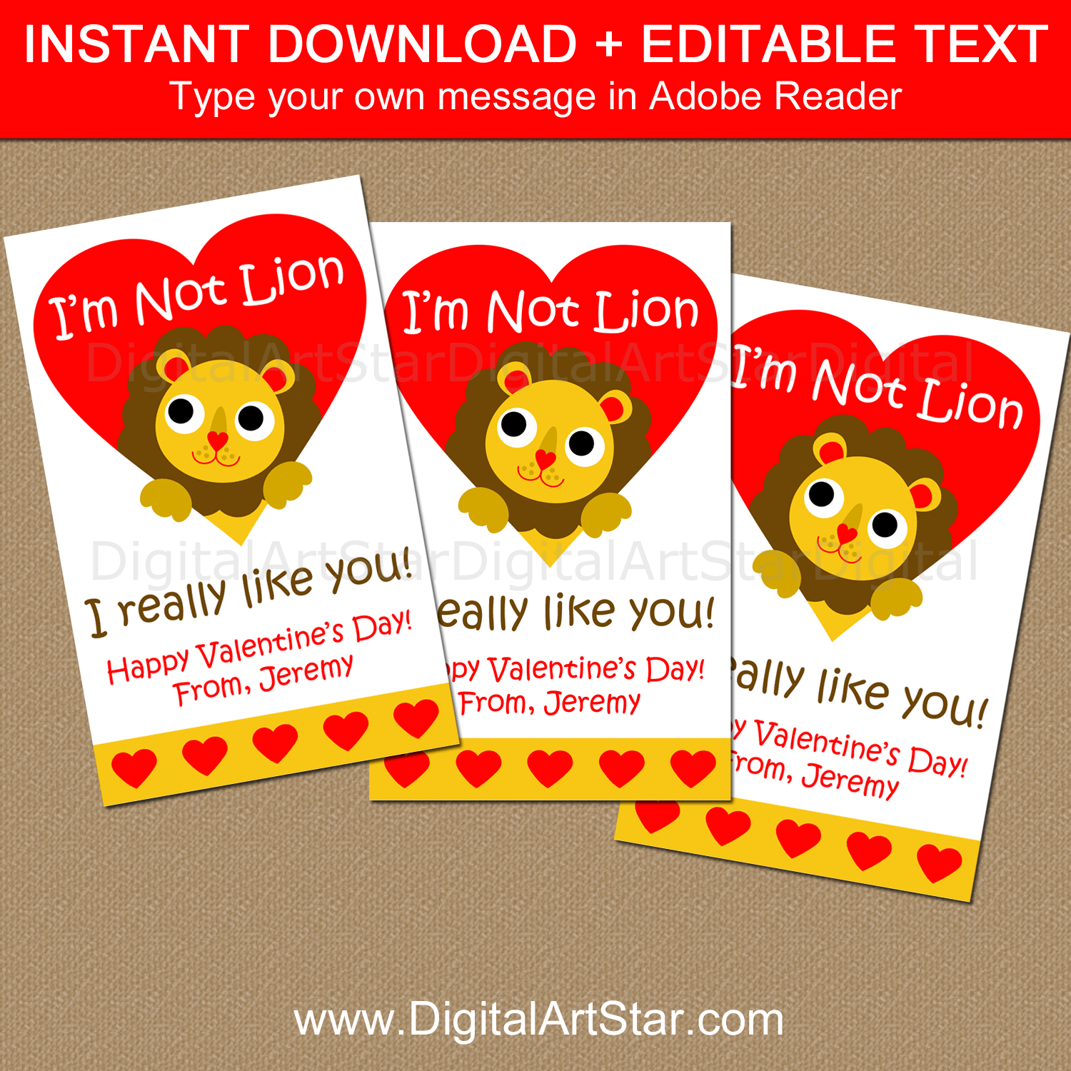 Lion Valentine's Day Card Template for School Party