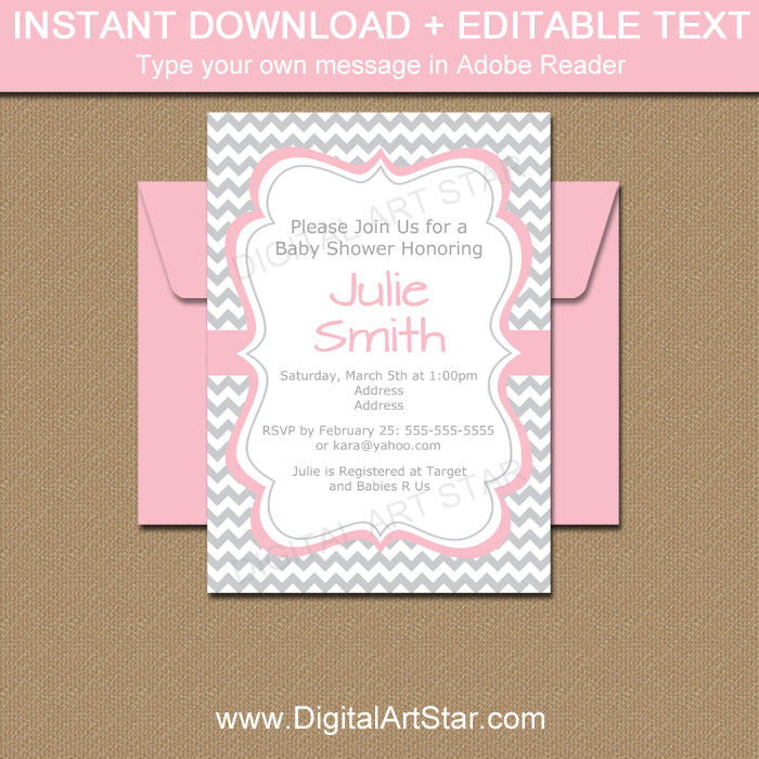 Pink and Gray Chevron Baby Shower Invitation Template Digital
