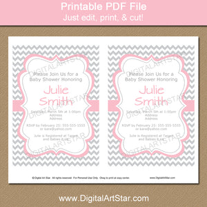 printable girl baby shower invitation download