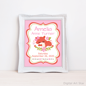 Woodland Birth Announcement Sign for Girl