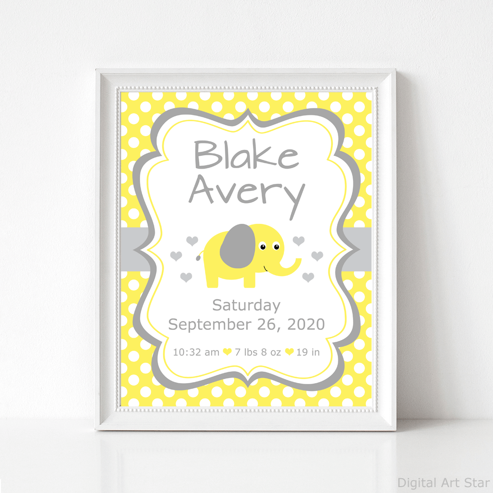 Yellow Elephant Nursery Wall Decor - Birth Announcement