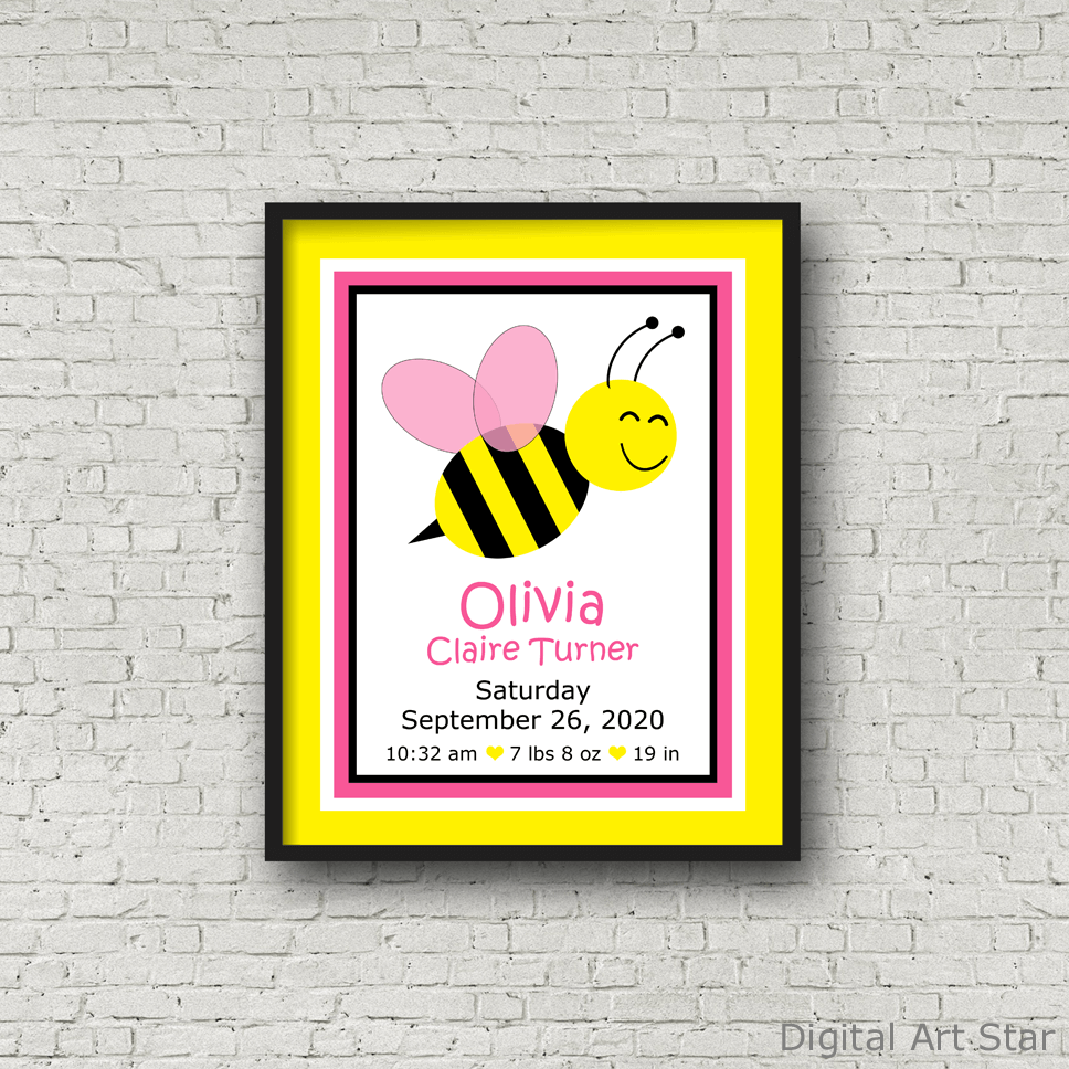 Yellow Pink Black Bee Nursery Wall Decor for Girls