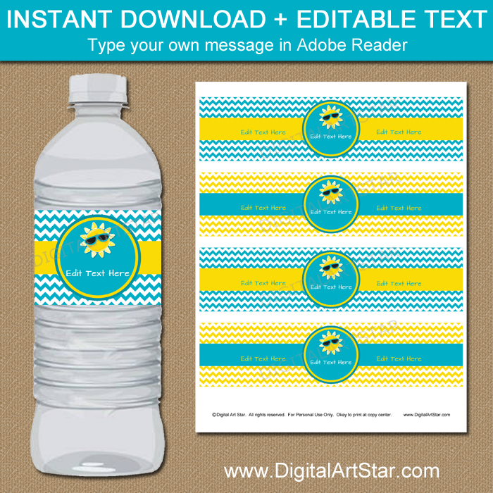 Water Bottle Labels for Family Reunion