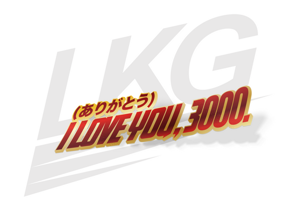 "LIMITED EDITION - ""I LOVE YOU 3000"" DECAL - DUAL LAYER (RED & GOLD CHROME)"