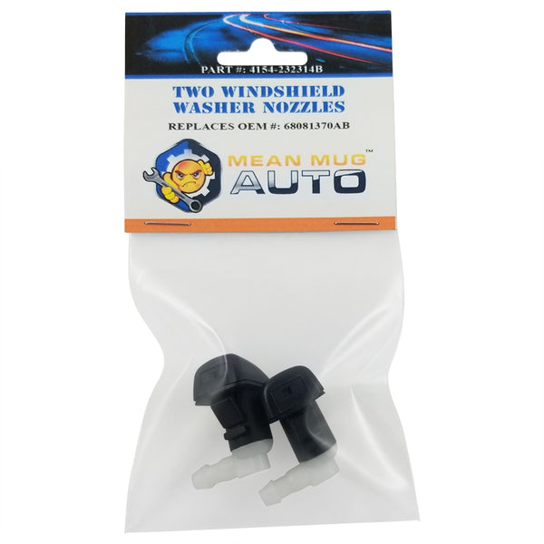 4154-232314B (Two) Front Windshield Washer Nozzles - For: Dodge Dart - Replaces OEM #: 68081370AB