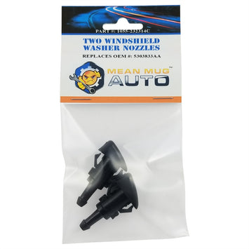 1055-232314C (Two) Front Windshield Washer Nozzles - For: Chrysler, Dodge, Jeep. Ram - Replaces OEM #: 5303833AA - Mean Mug Auto