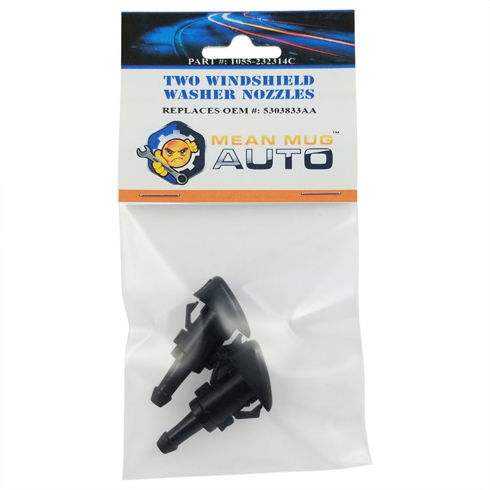 1055-232314C (Two) Front Windshield Washer Nozzles - For: Chrysler, Dodge, Jeep. Ram - Replaces OEM #: 5303833AA