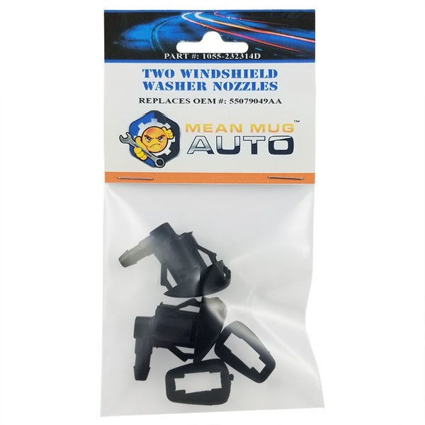 1055-232314D (Two) Front Windshield Washer Nozzles - For: Jeep Grand Cherokee - Replaces OEM #: 55079049AA