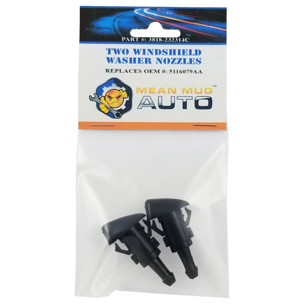 3818-232314C (Two) Front Windshield Washer Nozzles - For: Chrysler, Dodge - Replaces OEM #: 5116079AA
