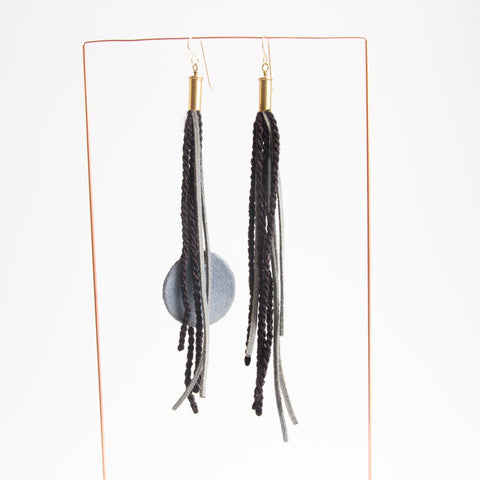 Long Tassel Earrings - Black/Grey