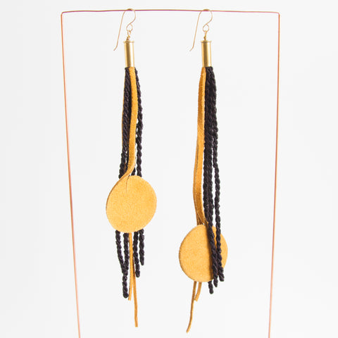 Long Tassel Earrings - Black/Yellow