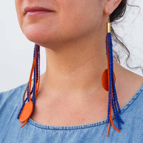 Long Tassel Earrings - Blue/Orange