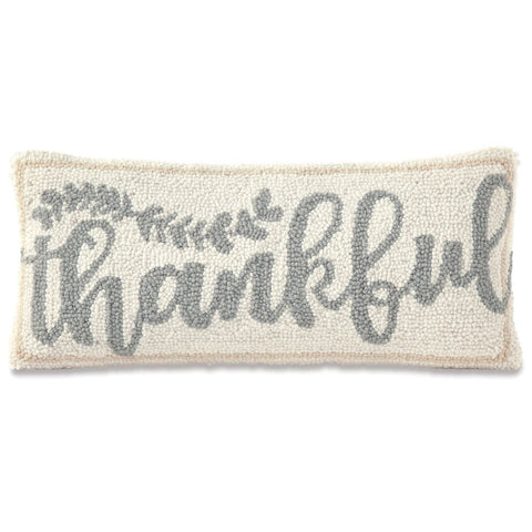 THANKFUL HOOKED WOOL PILLOW
