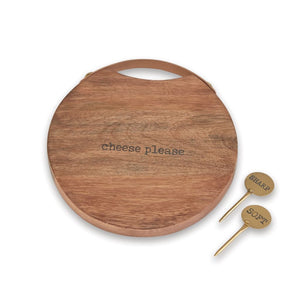 ROUND WOOD CHEESE BOARD SET S20