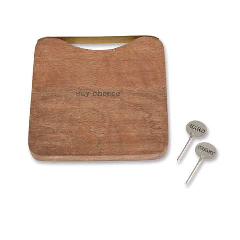 SQUARE WOOD CHEESE BOARD SET S20