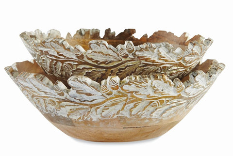 CARVED LEAF WOOD BOWL LARGE