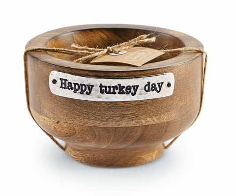 HAPPY TURKEY WOOD SERVING BOWL