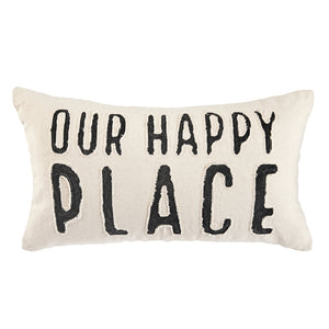 HAPPY PLACE WASHED CANVAS PILLOW S20