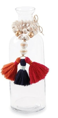 THREE BEAD AND TASSEL BUD VASE