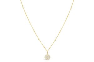 Charm & Chain Necklace - Pave Disk Gold