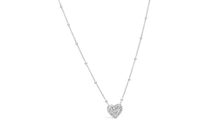 Charm & Chain Diamond Cut - Heart Sterling Silver