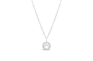 Charm & Chain Diamond Cut - Paw Sterling Silver