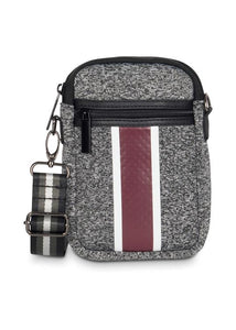 CASEY CELL PHONE BAG SOCIETY CHARCOAL MARLE/WHITE/WINE STRIPE