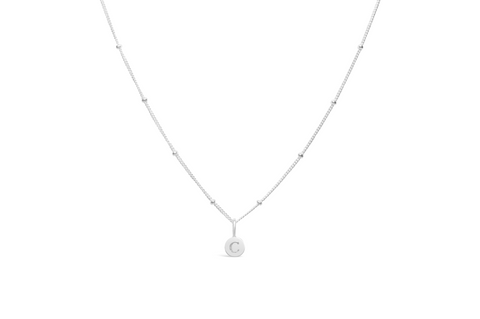 Diamond Cut Love Letter Necklace - C Sterling Silver