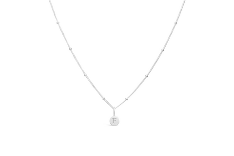 Diamond Cut Love Letter Necklace - F Sterling Silver