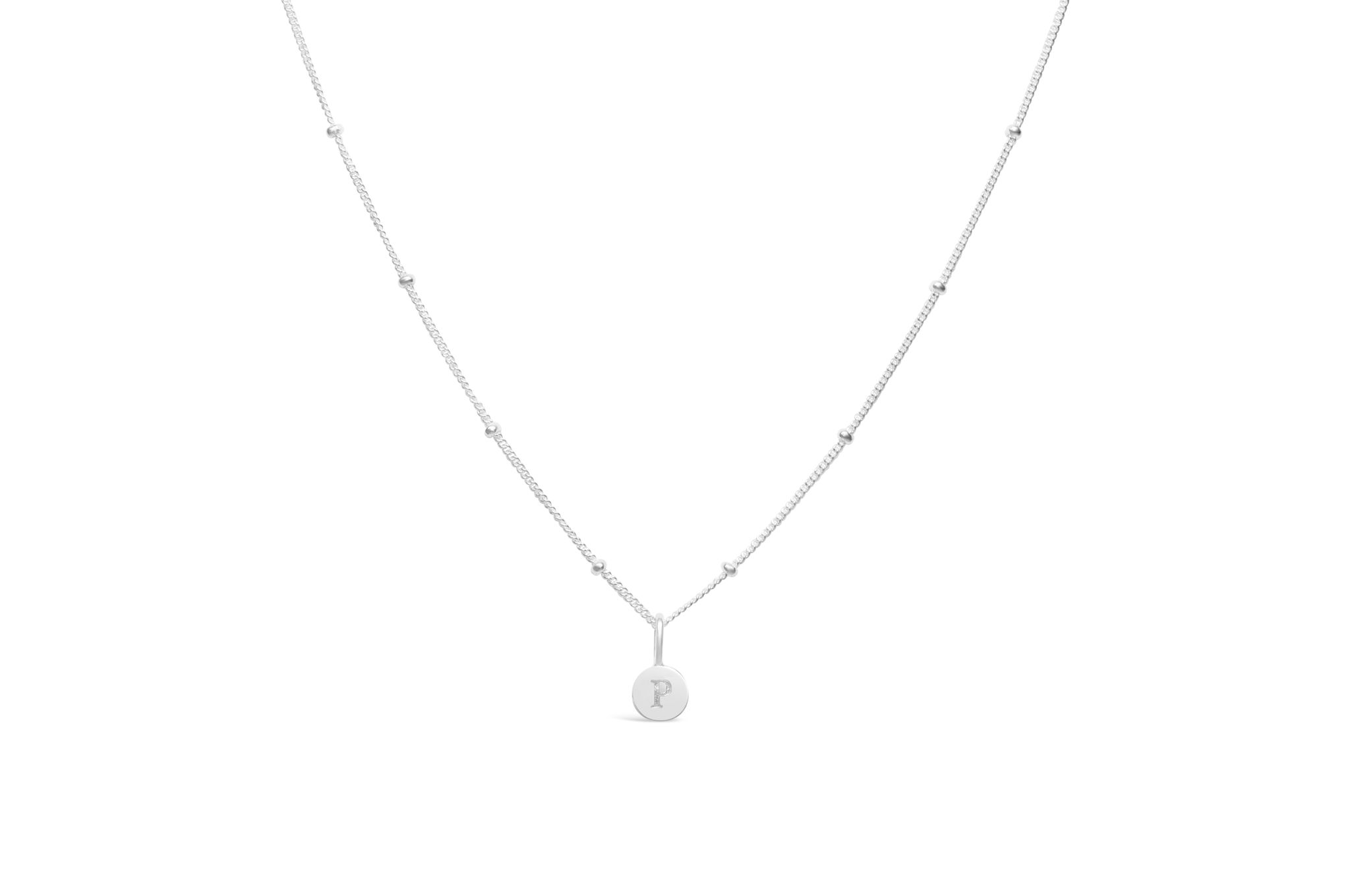 Diamond Cut Love Letter Necklace - P Sterling Silver