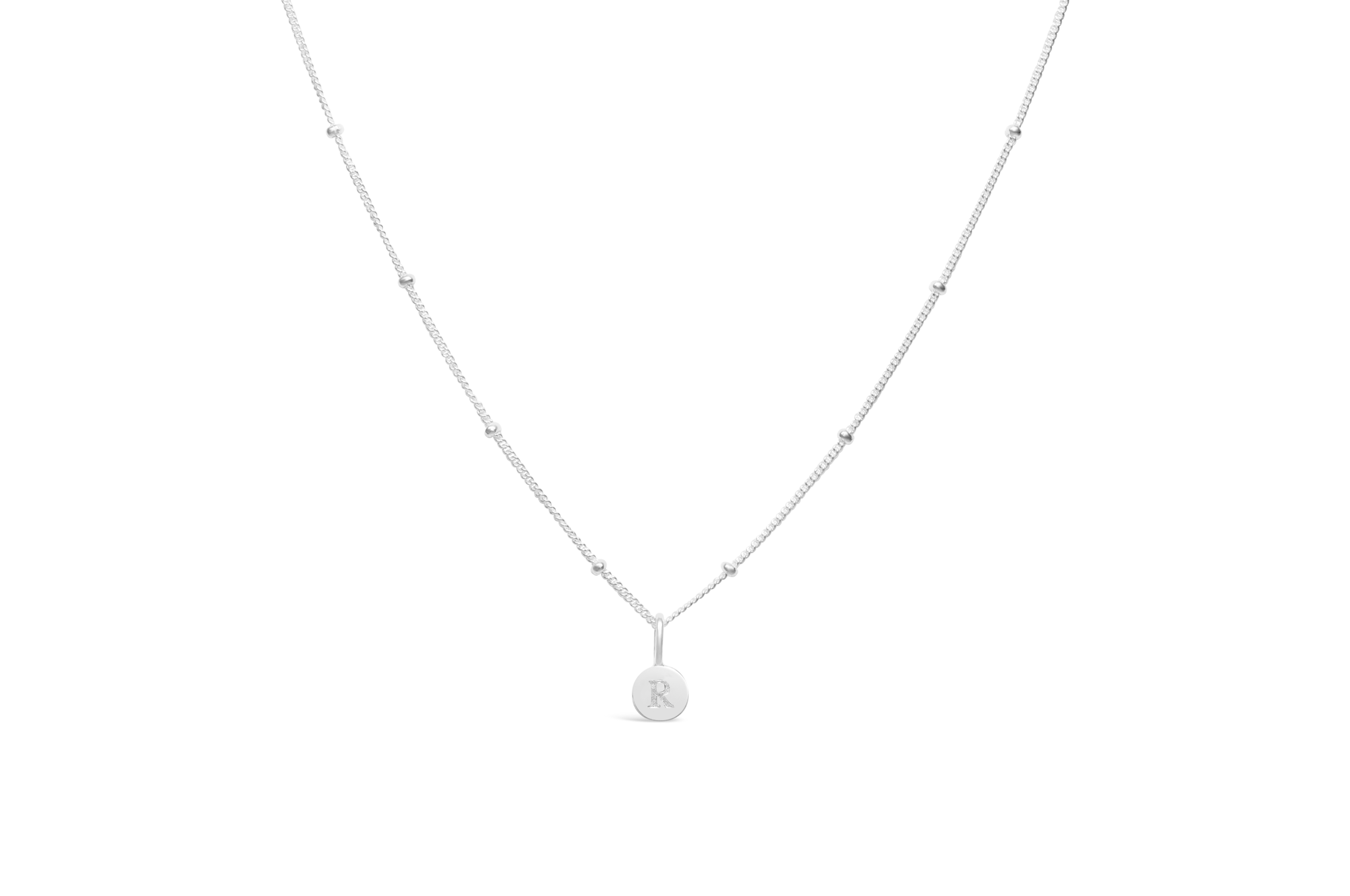 Diamond Cut Love Letter Necklace - R Sterling Silver