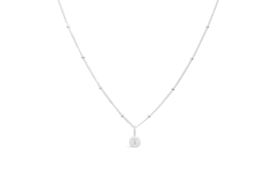 Diamond Cut Love Letter Necklace - T Sterling Silver