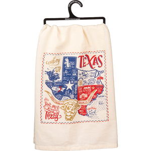 Embroidered Dish Towel Texas