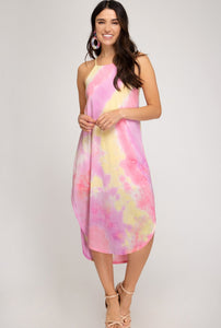 TIE DYED SLEEVELESS KNIT MIDI DRESS W LININ