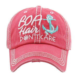 BOAT HAIR DONT CARE VINTAGE BALL CAP HOT PINK