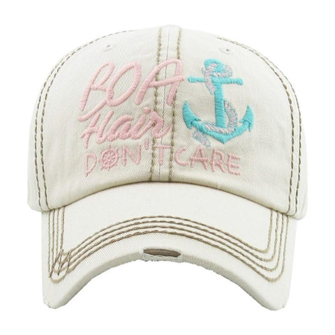 BOAT HAIR DONT CARE VINTAGE BALL CAP STONE S20