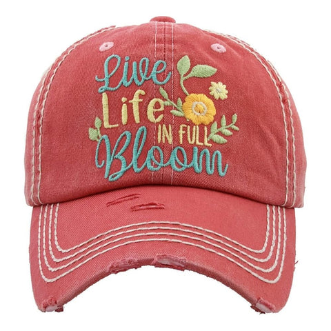 BALL CAP VINTAGE LIVE LIFE IN FULL BLOOM HOT PINK S20