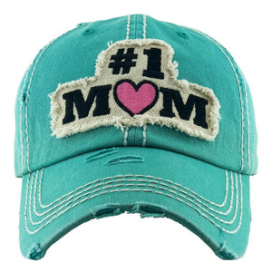 BALL CAP #1 MOM EMBROIDERED DISTRESSED TURQ S20