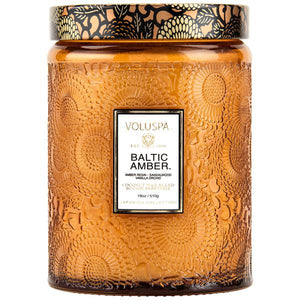 BALTIC AMBER LARGE EMBOSSED GLASS JAR CANDLE